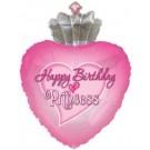 Happy Birthday Princess Heart Balloon