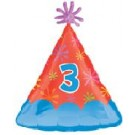 Number Three Party Hat Balloon