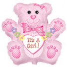 "32"" Jumbo It's a Girl Bear Balloon"