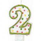 Polka Dot Candle Numeral 2 Birthday Cake Candles
