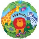 "18"" Junggle Animals Happy Birthday Foil Balloon"