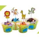Jungle Animals skirting and cupcake pics Set 12pcs