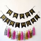 Happy Birthday Black Flag Banner with Paper Tassels package B