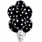 "12"" Black with White Polka Dots Latex Balloons"