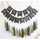 Happy Birthday Black Flag Banner with Paper Tassels package A