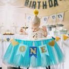 Blue 1st Birthday high chair Deco