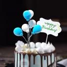 Blue and White Balloon Picks 6pcs
