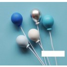 Blue Theme Balloon Picks Cake Deco 5pcs