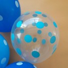 "12"" Transparent with Blue Polka Dots Latex Balloons"