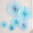 Blue Paper Fan Decorations 6pcs set