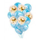 10pcs Blue Marble with 5pcs Gold Confetti 12in Latex Balloon Bouquet