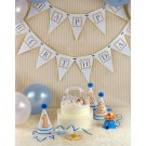 Blue Striped Happy Birthday Flag Banner
