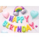 "16"" HAPPY BIRTHDAY candy colours Foil Balloons"