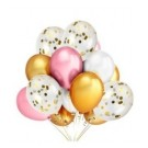 15pcs set of Chrome and Gold Confetti 12in Latex Balloon Set