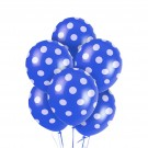 "12"" Dark Blue with White Polka Dots Latex Balloons"