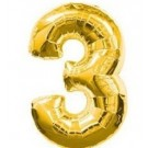 "40"" Gold Number 3 Foil Balloon"