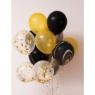 12pcs Black, Gold and Gold Confetti 12in Latex Balloon Set B