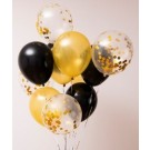 12pcs Black, Gold and Gold Confetti 12in Latex Balloon Set
