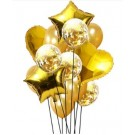 Gold heart and star 18in foil balloons with 5pcs gold latex and 5pcs gold Confetti 12in Latex Balloon Set
