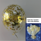 12in Gold Star Confetti Latex Balloon 1pc