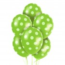 "12"" Green with White Polka Dots Latex Balloons"