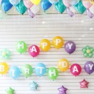 "12"" HAPPY BIRTHDAY Printed Latex Balloons with 5pcs 5in Colourful Star Foil Balloons"