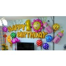 Baby Girl 1st Birthday Foil Balloons Set