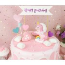 Unicorn topper, heart pics and Pink Happy Birthday Banner