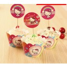 Hello Kitty cupcake skirting and cupcake pics Set 12pcs