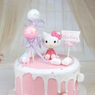 Hello Kitty Shake Head Topper, Shimming balls and Pink Happy Birthday Banner