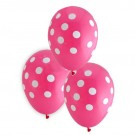 "12"" Pink with White Polka Dots Latex Balloons"