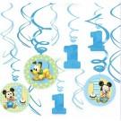 Mickey Mouse 1st Birthday Swirl Decorations 12pcs