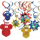 Mickey Mouse Birthday Swirl Decorations 12pcs