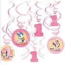 Minnie Mouse 1st Birthday Swirl Decorations 12pcs
