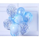 12pcs Blue Theme and Confetti 12in Latex Balloon Set C