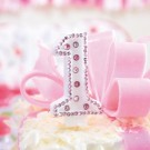 Pink crystal 1st Birthday Candle