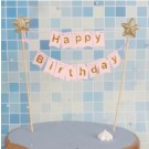Gold star Happy Birthday Pink Cake Banner