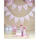 Pink Dotted Happy Birthday Flag Banner