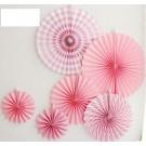 Pink Paper Fan Decorations 6pcs set