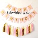 Happy Birthday Pink Flag Banner with Paper Tassels package