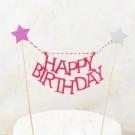 Pink Star Happy Birthday Cake Banner