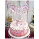 Pink Happy Birthday Cake Banner