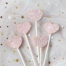 Pink Heart Shimmering Cake Picks
