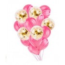 10pcs Pink Marble with 5pcs Gold Confetti Latex Balloon Bouquet