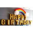 16in Happy Birthday Foil with Rainbow and cloud Latex Balloons