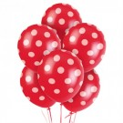 "12"" Red with White Polka Dots Latex Balloons"