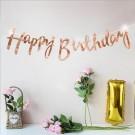 Rose Gold Happy Birthday Banner