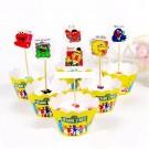 Sesame Street cupcake skirting and cupcake pics Set 12pcs