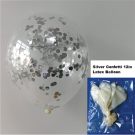 12in Silver Confetti Latex Balloon 1pc