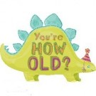 28in You're How Old Stegosaurs Foil Balloon